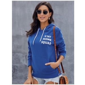 """💙🎊HPx2🚨2 LEFT:XXL """"Blue STAY HOME SQUAD Hoodie"""""""